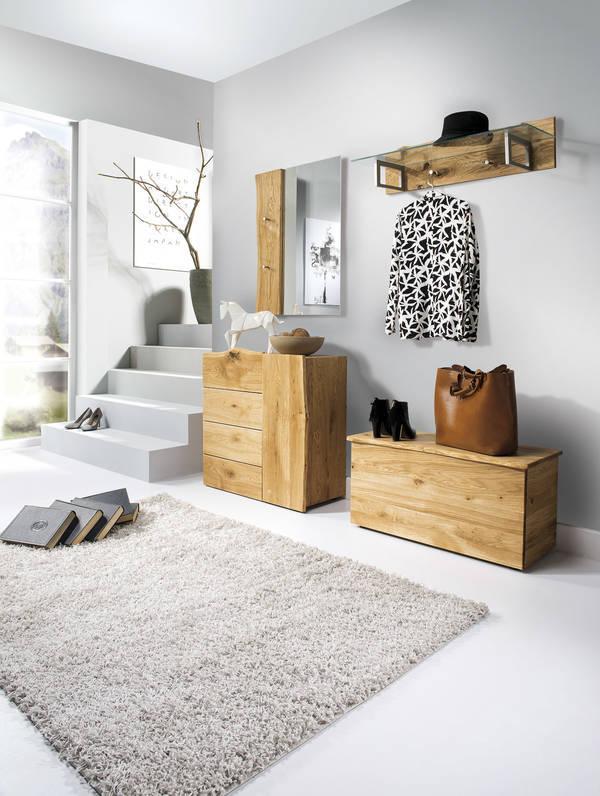 Garderobe Woodline Eiche Mit Hutablage Glasplatte Astor