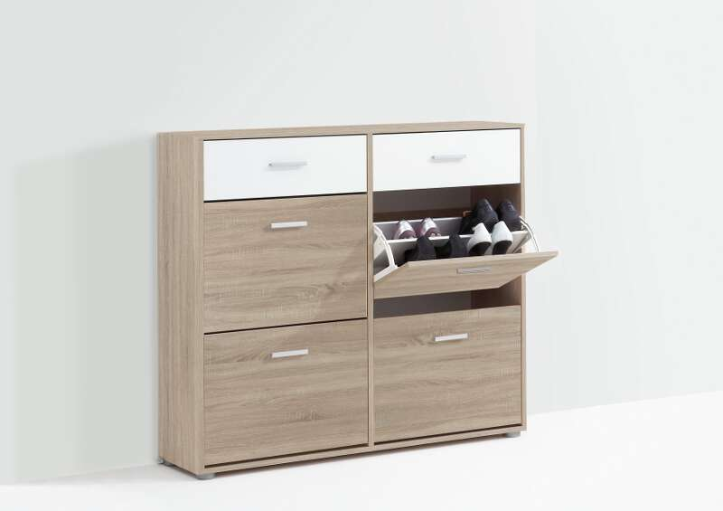 schuhschrank bozen 2 eiche weiss fmd m bel. Black Bedroom Furniture Sets. Home Design Ideas