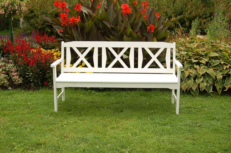 gartenbank flensburg 3 sitzer weiss lackiert astor. Black Bedroom Furniture Sets. Home Design Ideas