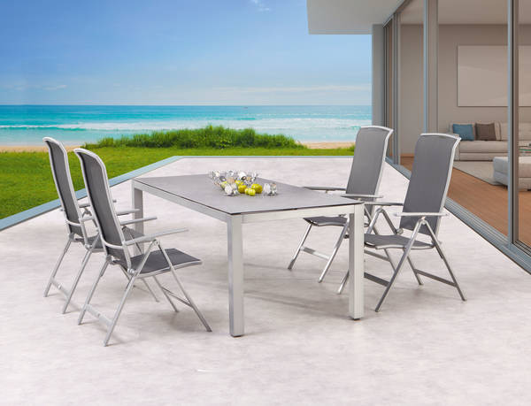 Dining-Gruppe Palermo+Houston 5-tlg silber-Keramik - BEST