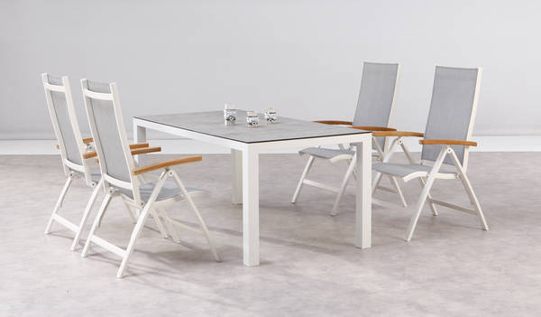 Dining-Gruppe Cavalese+Houston 5-tlg weiss-Teak-Keramik - BEST