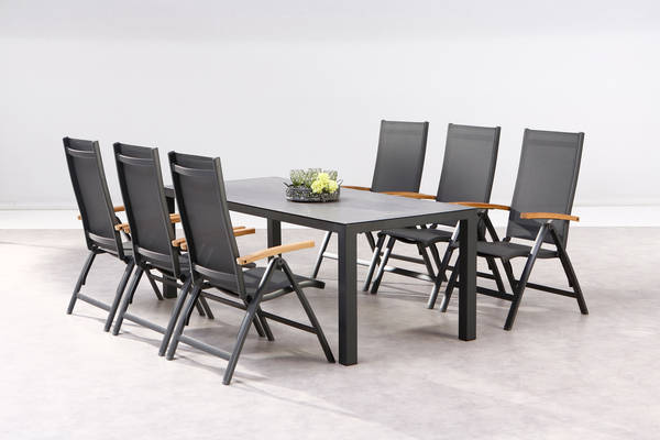 Dining-Gruppe Cavalese+Houston 7-tlg anthrazit-Teak - BEST