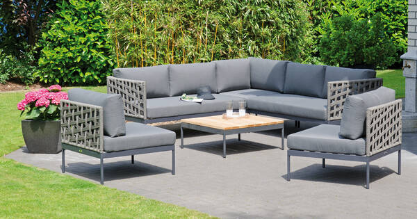 Lounge Vogue mit Kissen grau - SonnenPartner 800710-Set