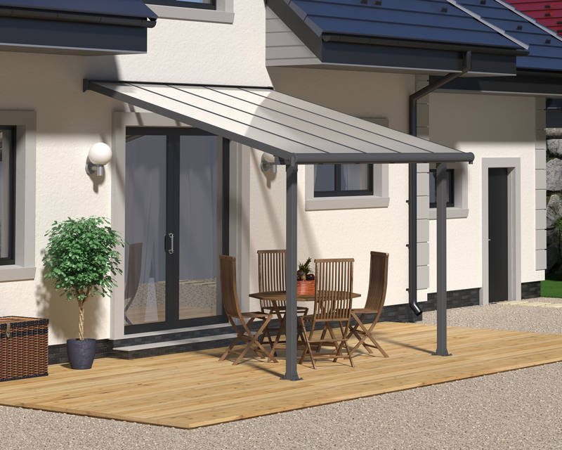 Terrassendach Olympia Patio Covers 16mm 3x3 grau klar - Palram