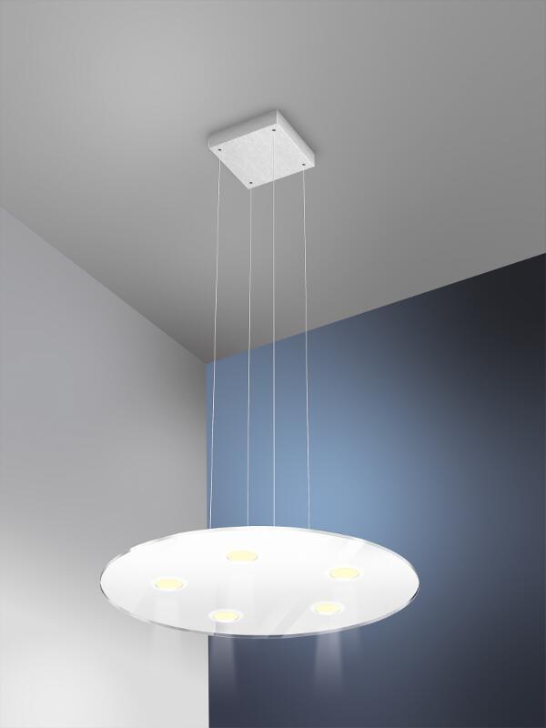 led pendelleuchte sun rund 5x6w edelstahl glas weiss evotec. Black Bedroom Furniture Sets. Home Design Ideas