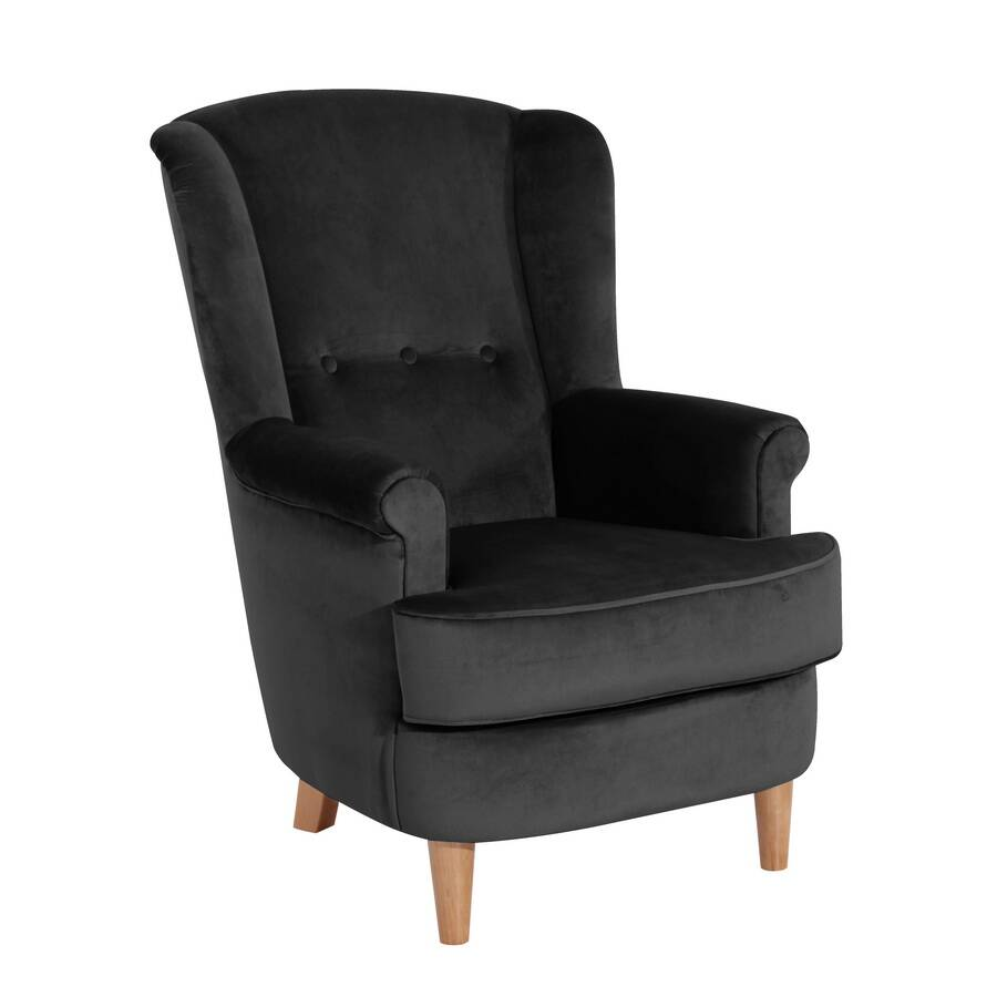 ohrenbackensessel kendra schwarz veloursstoff max winzer. Black Bedroom Furniture Sets. Home Design Ideas