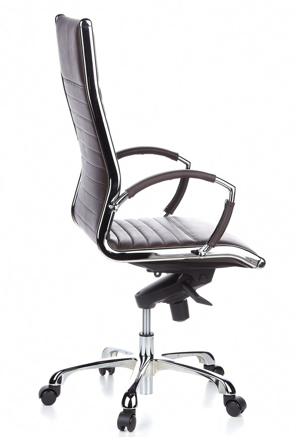 chefsessel milano 20 leder braun chrom hjh. Black Bedroom Furniture Sets. Home Design Ideas