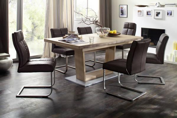 esstischgruppe augsburg i 140 cm eiche massiv und 6 st hle braun. Black Bedroom Furniture Sets. Home Design Ideas