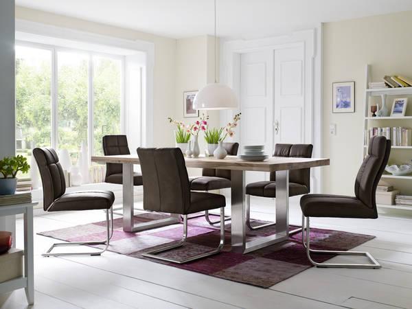 esstischgruppe erlangen i 180 wildeiche massiv 6 st hle braun. Black Bedroom Furniture Sets. Home Design Ideas