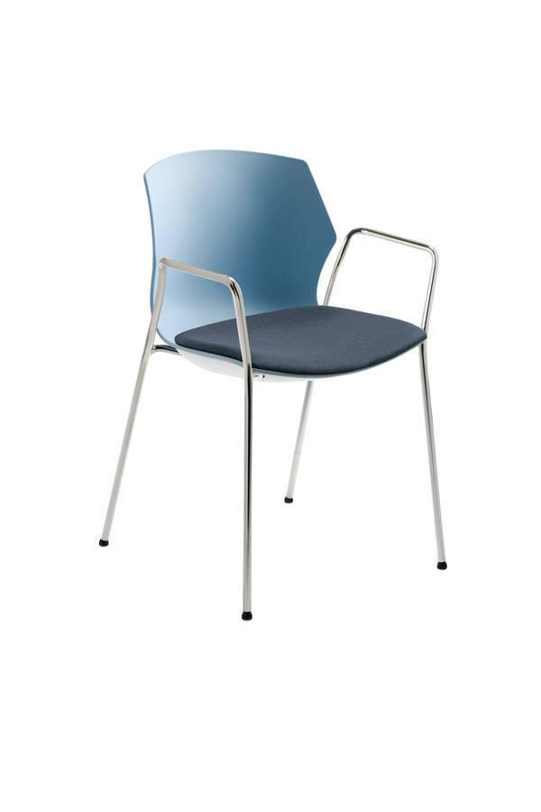 Mayer Sitzmöbel Stapelstuhl myPRIMO mit Arml graublau Kissen jeansblau - Mayer 2511 01 03 A 26 502